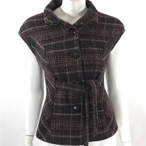 CAbi Size XS CINCH IT UP Plaid Wool Tweed Vest